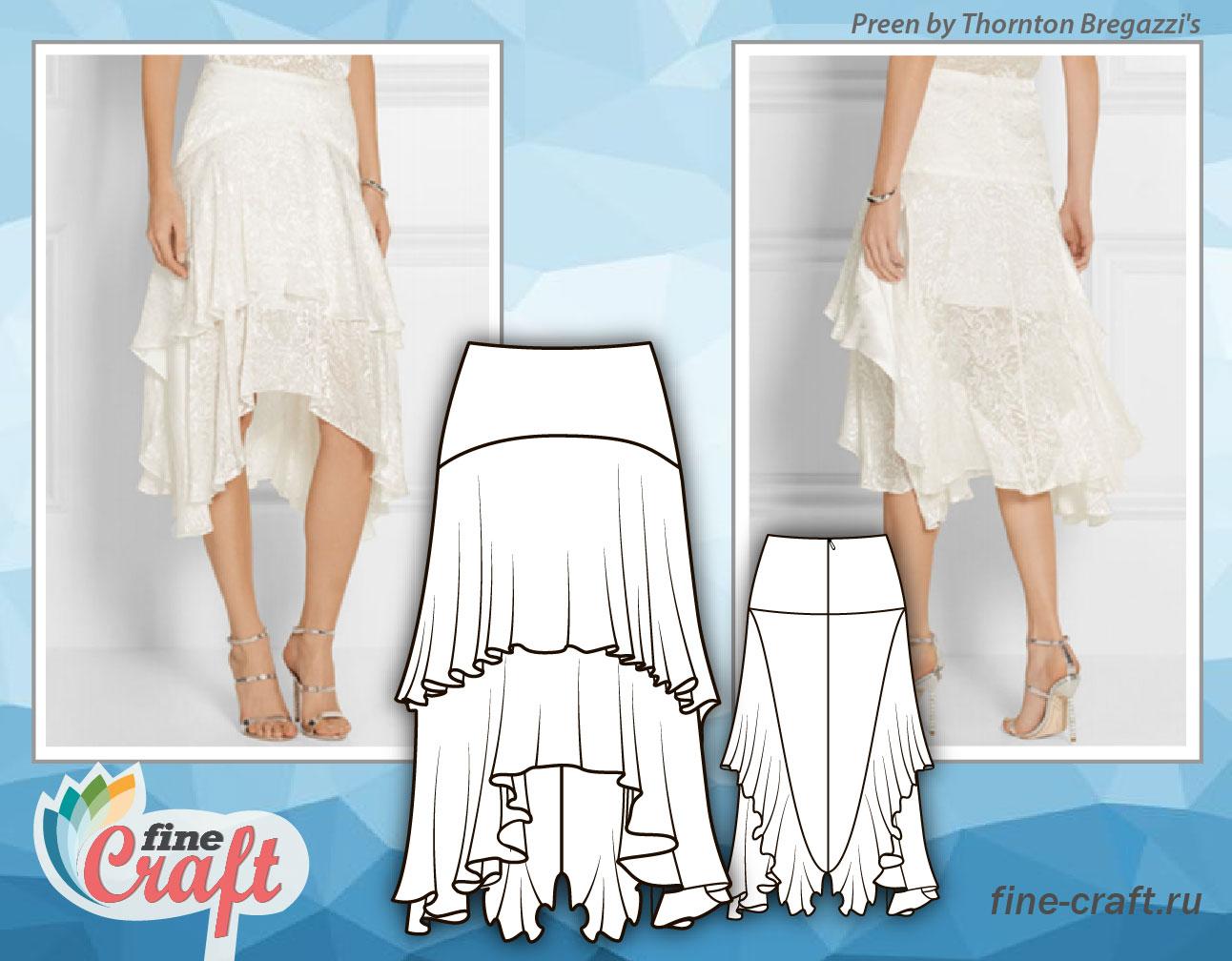 Эскиз модели женской юбки